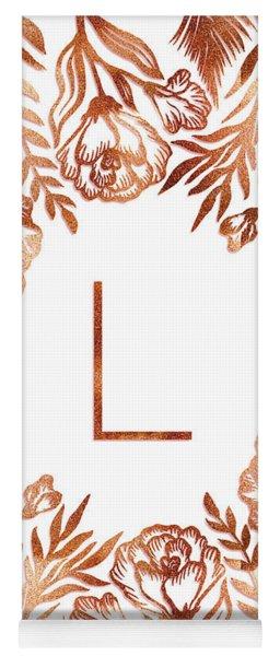 Letter L - Rose Gold Glitter Flowers Yoga Mat