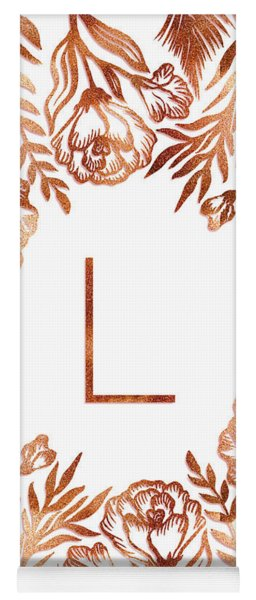 Letter L - Rose Gold Glitter Flowers Yoga Mat