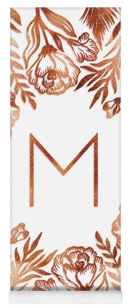Letter M - Rose Gold Glitter Flowers Yoga Mat