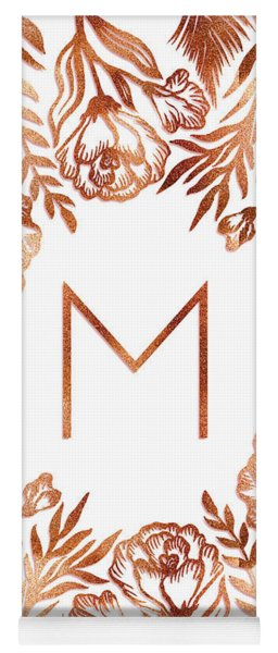 Letter M - Rose Gold Glitter Flowers Yoga Mat