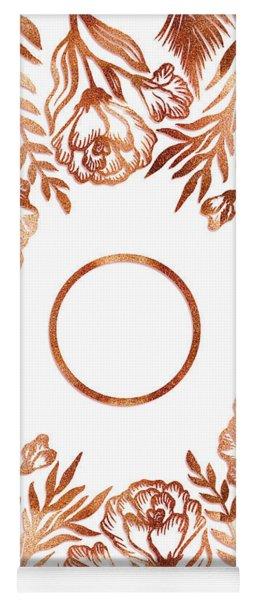 Letter O - Rose Gold Glitter Flowers Yoga Mat