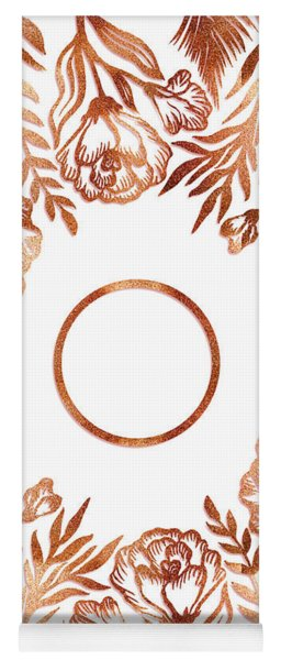 Letter O - Rose Gold Glitter Flowers Yoga Mat
