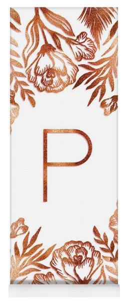 Letter P - Rose Gold Glitter Flowers Yoga Mat