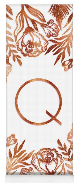Letter Q - Rose Gold Glitter Flowers Yoga Mat