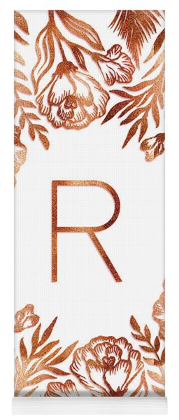 Letter R - Rose Gold Glitter Flowers Yoga Mat