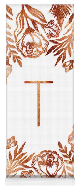 Letter T - Rose Gold Glitter Flowers Yoga Mat