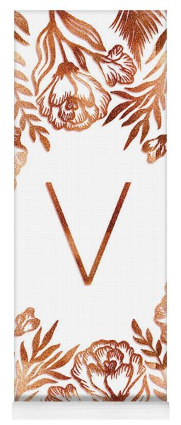 Letter V - Rose Gold Glitter Flowers Yoga Mat
