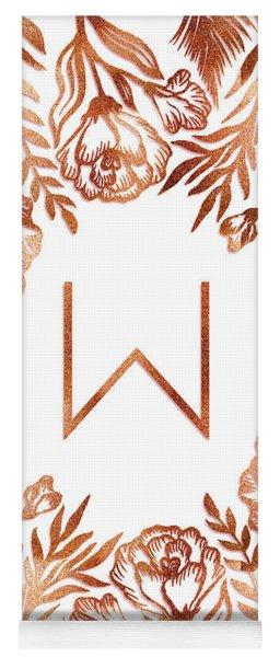 Letter W - Rose Gold Glitter Flowers Yoga Mat
