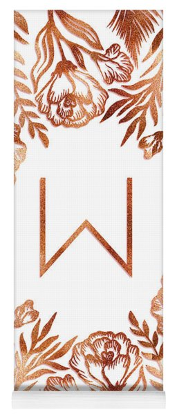 Letter W - Rose Gold Glitter Flowers Yoga Mat