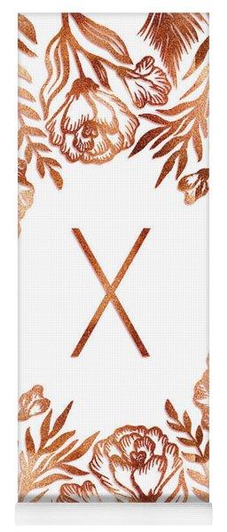 Letter X - Rose Gold Glitter Flowers Yoga Mat