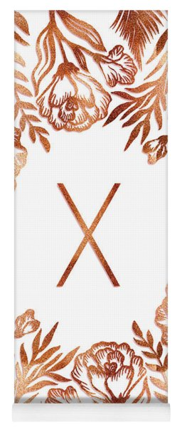Letter X - Rose Gold Glitter Flowers Yoga Mat