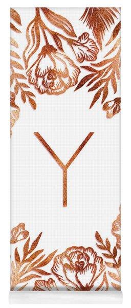 Letter Y - Rose Gold Glitter Flowers Yoga Mat