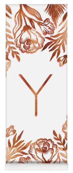 Letter Y - Rose Gold Glitter Flowers Yoga Mat