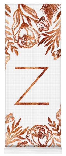 Letter Z - Faux Rose Gold Glitter Flowers Yoga Mat