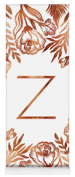 Letter Z - Faux Rose Gold Glitter Flowers Yoga Mat