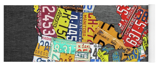 License Plate Map Of North America Canada And The United States On Gray Metal Yoga Mat