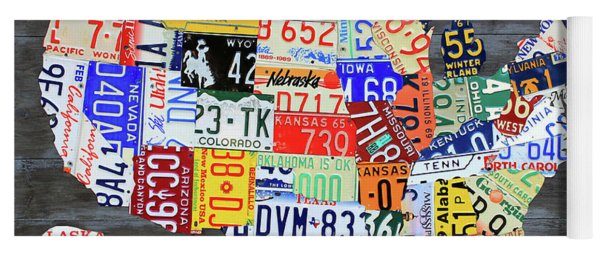 License Plate Map Of The United States Gray Edition 16 With Special Kodiak Bear Alaska Plate Yoga Mat