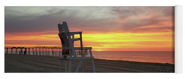 Lifeguard Stand On The Beach At Sunrise Yoga Mat