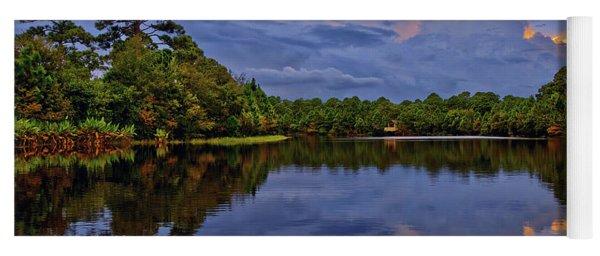 Light Beam Sunset Over Hidden Lake In Jupiter Florida Yoga Mat