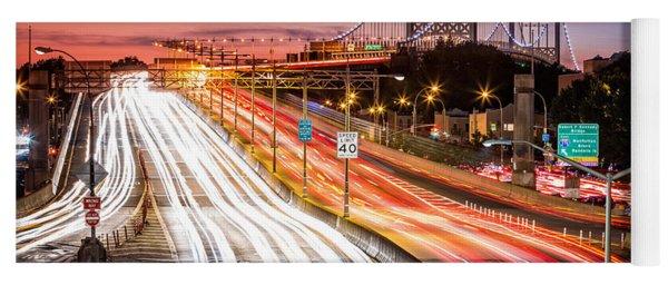 Light Trails On I-278 Near Triboro Bridge Yoga Mat