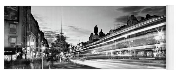 Yoga Mat featuring the photograph Light Trails On O'connell Street At Night - Dublin by Barry O Carroll
