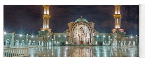 Yoga Mat featuring the photograph Lighted Federal Territory Mosque  by Pradeep Raja Prints