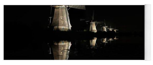 Lighted Windmills In The Black Night Yoga Mat