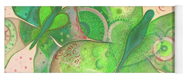 Lighthearted In Green On Red Yoga Mat