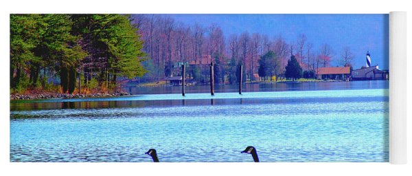 Lighthouse Geese, Smith Mountain Lake Yoga Mat