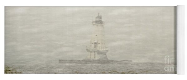 Lighthouse In Snowstorm Yoga Mat