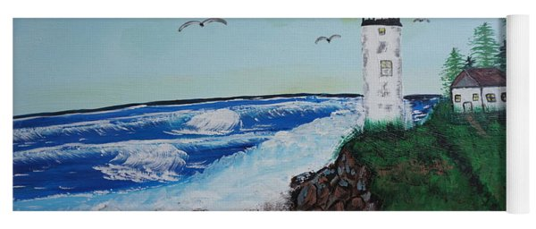 Yoga Mat featuring the painting Lighthouse by Jimmy Clark