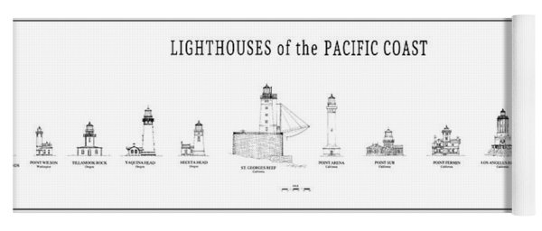 Lighthouses Of The Pacific Coast Yoga Mat