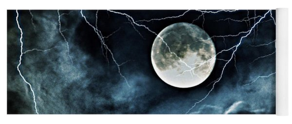 Lightning Sky At Full Moon Yoga Mat