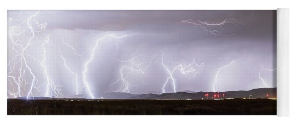 Lightning Thunderstorm Extreme Weather Over Golden Colorado Yoga Mat