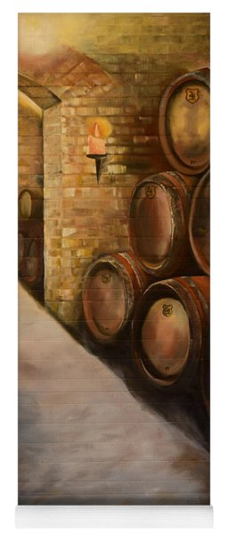 Yoga Mat featuring the painting Lights In The Wine Cellar - Chateau Meichtry Vineyard by Jan Dappen