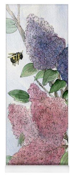 Lilacs And Bees Yoga Mat