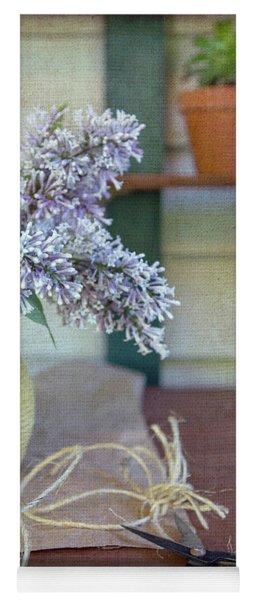 Lilacs In Yellow Vase Yoga Mat