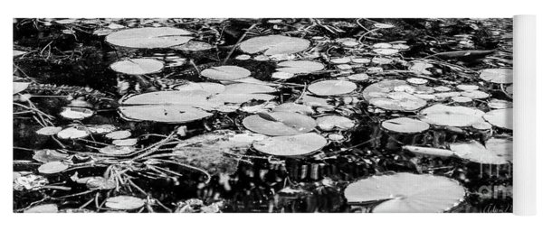 Lily Pads, Black And White Yoga Mat