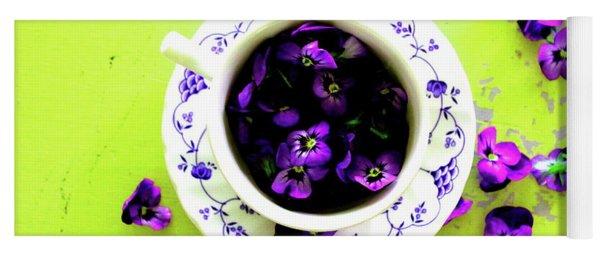 Lime Violet Tea Cup Yoga Mat