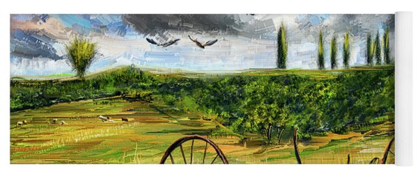 Lingering Memories Of The Past - Pastoral Artwork - Antique And Vintage Farm Equipment Yoga Mat