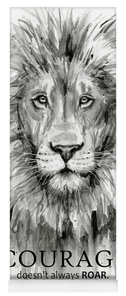 Lion Courage Motivational Quote Watercolor Animal Yoga Mat