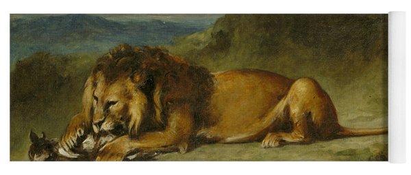 Lion Devouring A Goat Yoga Mat