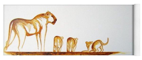 Lioness And Cubs Small - Original Artwork Yoga Mat