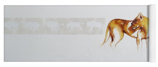 Lioness And Wildebeest Yoga Mat