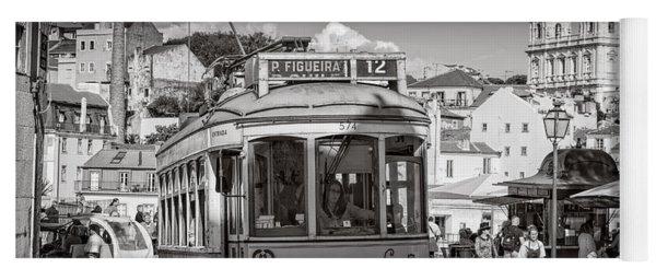 Lisbon Tram Bw Yoga Mat