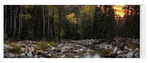 Little Cottonwood Creek Fall Sunset Yoga Mat
