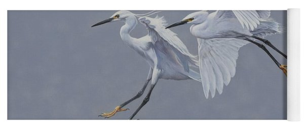 Little Egrets In Flight Yoga Mat