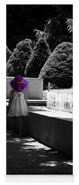 Little Girl In Magenta Hat Black And White Selective Color Yoga Mat