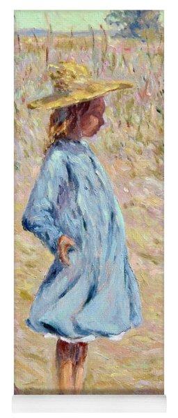 Little Girl With Blue Dress Yoga Mat