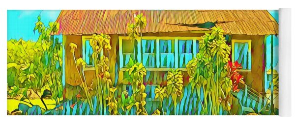 Little Grass Shack In Pahoa Hawaii In Turquoise  Yoga Mat
